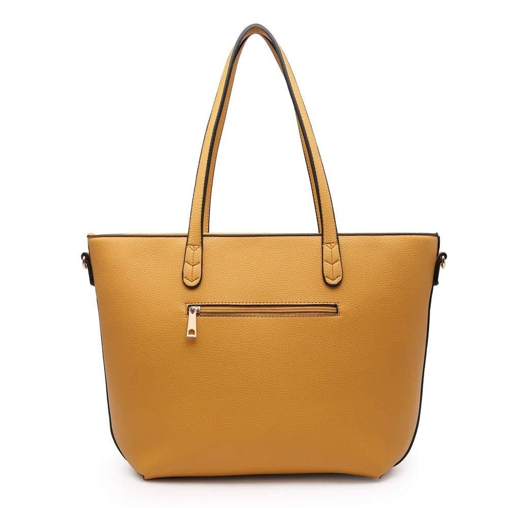 Craze London nya kvinnors 2 i 1 stor tygväska för kvinnor, vintage samling av handväskor, damer stora axelremmar handväskor med matchande handväska Ljusgrå