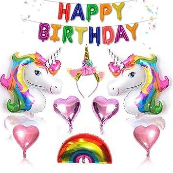 Towinle 26 Stuck Einhorn Geburtstagsdeko Set Happy Birthday Einhorn