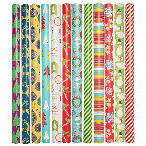 Paper Craft (12 Count Jumbo Christmas Wrapping Paper Rolls Set for Xmas Presents Bulk Assortment