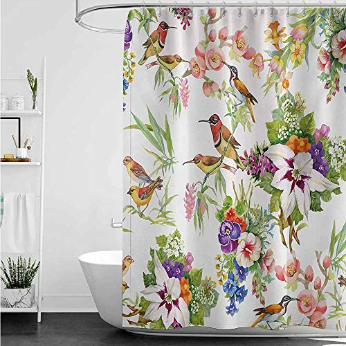 home1love Custom Shower Curtain,Floral Watercolor Wild Exotic Mockingbirds and Spring Flowers Branches Botanical Artwork,Metal ()