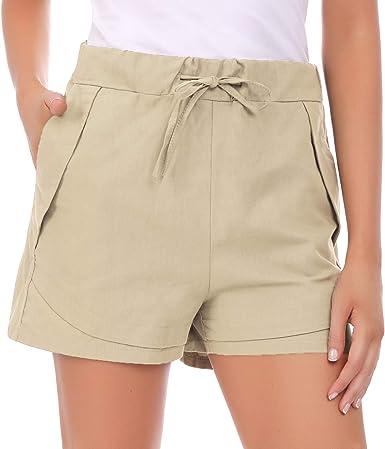 Hawiton Pantalones Cortos para Mujer Verano, pantalón Deporte de Algodon, elástica de Cintura Alta Short Pants con cordón y Bolsillos, Pantalones Chandal para Yoga Gimnasio Fitness: Amazon.es: Ropa y accesorios