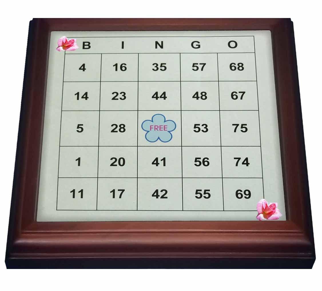 3dRose trv_30661_1 Bingo N Roses Trivet with Ceramic Tile, 8 by 8'', Brown by 3dRose