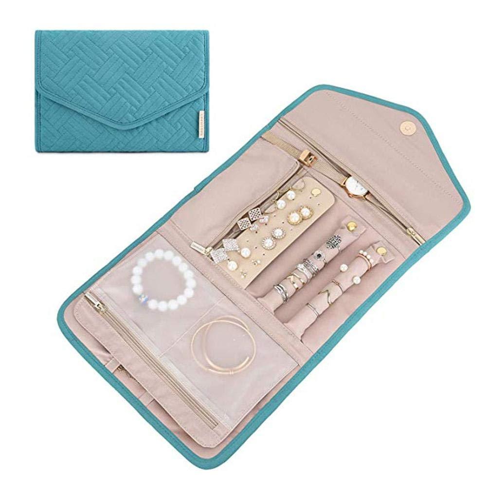 Pulseras miraculocy Travel Jewellery Organizer Roll Bag Estuche De Joyer/ía Plegable para Anillos De Viaje Collares Pendientes