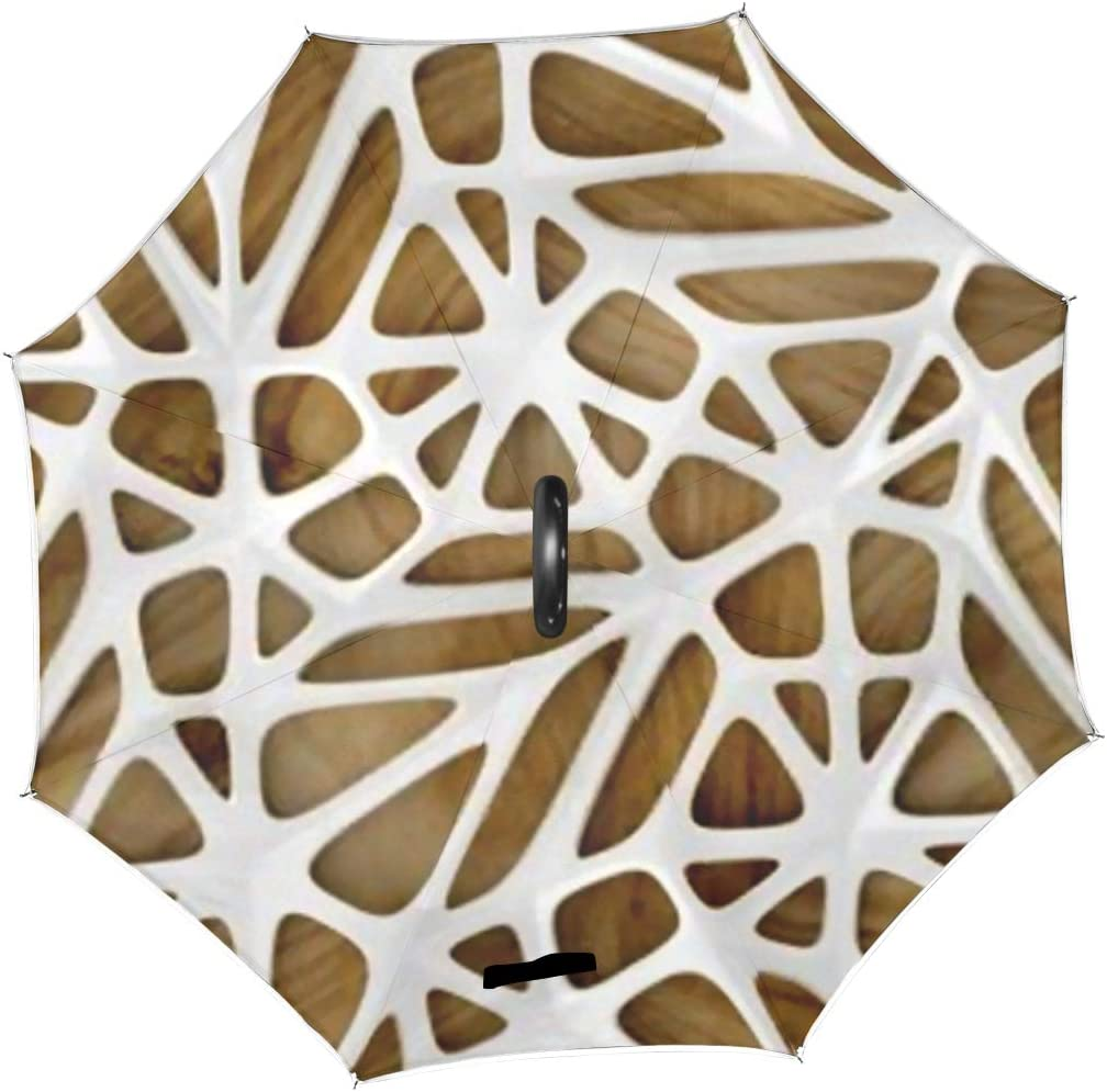 Double Layer Inverted Inverted Umbrella Is Light And Sturdy 3d White Lattice Tiles On Wooden Reverse Umbrella And Windproof Umbrella Edge Night Refle