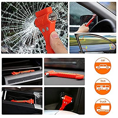 LPHUS 2 Pack Car Safety Hammer, Emergency Escape Tool with Car Window Breaker and Seat Belt Cutter, ABS Carbon Steel Escape Hammer: Automotive