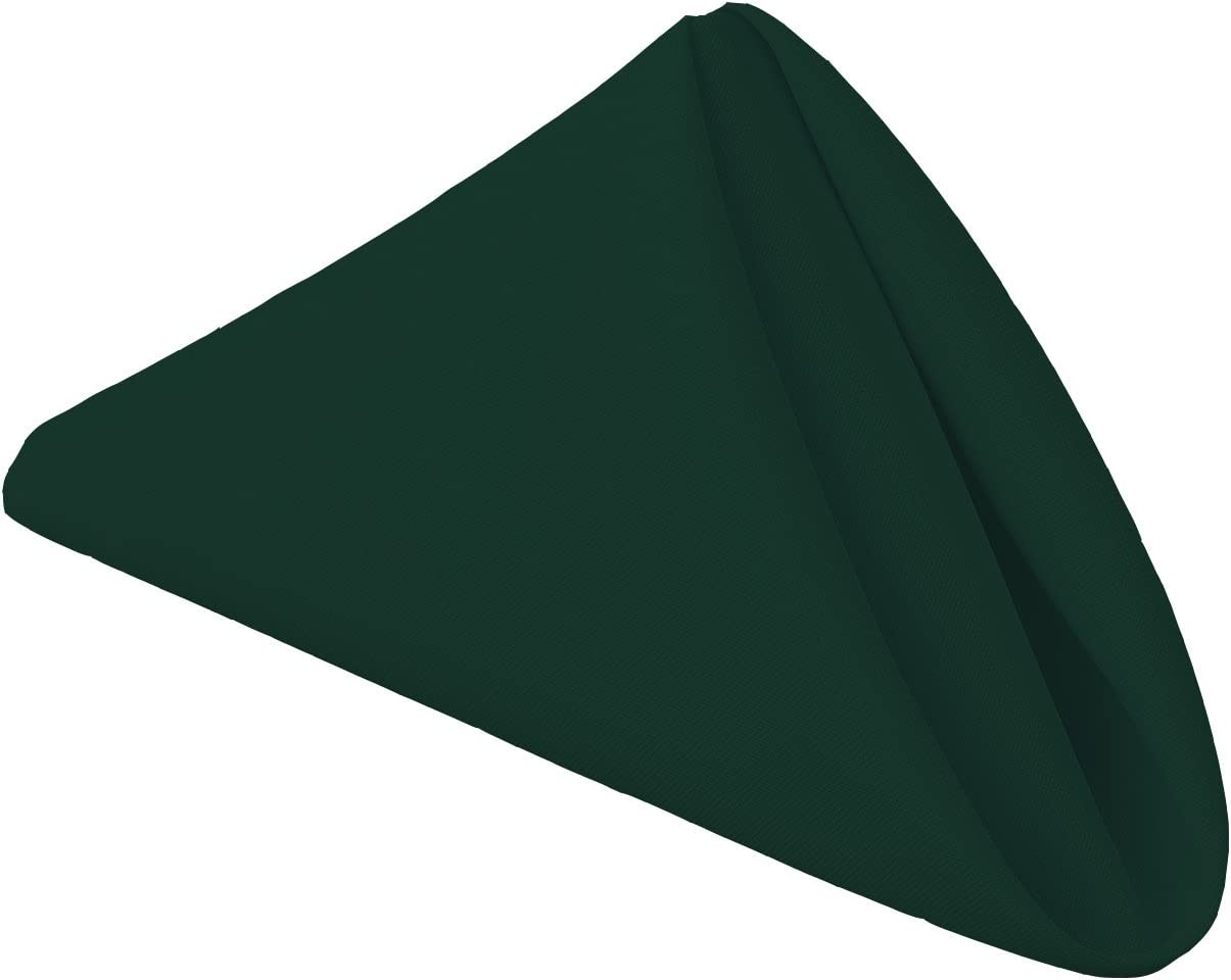 Gee Di Moda Cloth Napkins - 17 x 17 Inch Hunter Green Solid Washable Polyester Dinner Napkins - Set of 12 Napkins with Hemmed Edges - Great for Weddings, Parties, Holiday Dinner & More