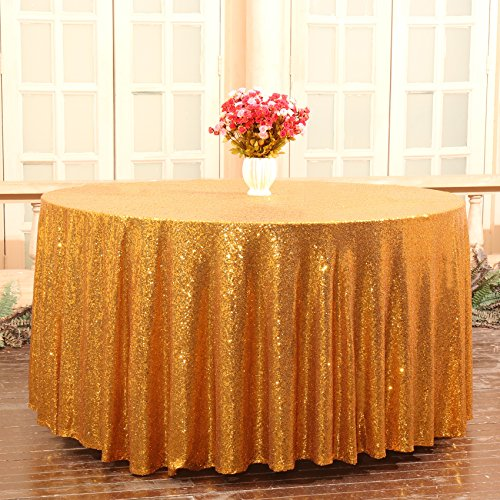 Partydelight Sequin Tablecloth Round Wedding, Party, Christmas Decor, 120