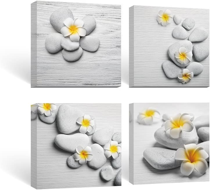 SUMGAR Framed Wall Art Bathroom Canvas Paintings Living Room Yellow Flowers Frangipani Zen Stones Pictures 4 Pieces,16x16 inch