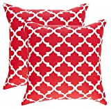 Decorative Pillow Cover - TreeWool, Cotton Canvas Trellis Accent Decorative Throw Pillow Covers (Pack of 2 Cushion Covers; 20 x 20 Inches; Red & White)