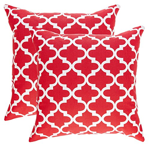 hrow Pillow Covers Trellis Accent in Cotton Canvas (16 x 16 Inches; Red) (16 Inch Accent Pillow)