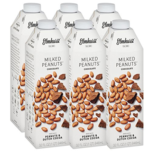 Emulsifier Free Gluten (Elmhurst Milked - Chocolate Peanut Milk - 32 Fluid Ounces (Pack of 6). Only 6 Ingredients, 8g Protein, Non Dairy, No Added Gums or Emulsifiers, Vegan)