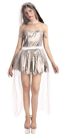 GEMVIE Halloween Mujer Disfraz Novia Vampiro Zombi Vestido sin ...