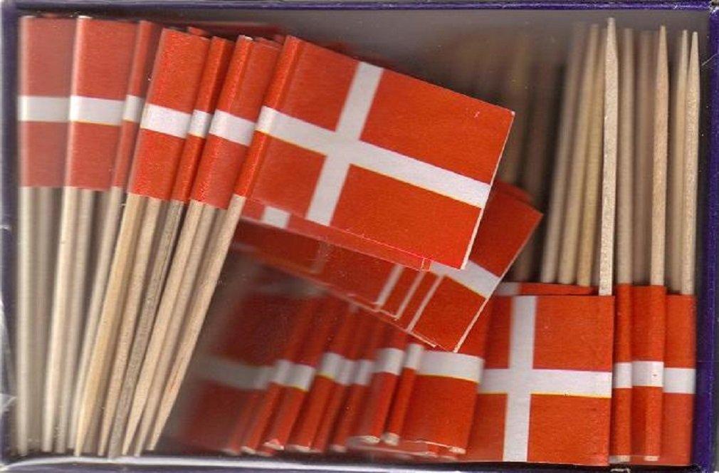 25 Box Wholesale Lot of Denmark Toothpick Flags, 2500 Small Mini Danish Flag Cupcake Toothpicks or Cocktail Picks