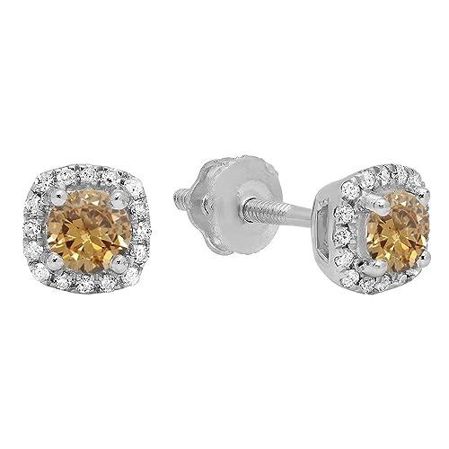 Dazzlingrock Collection 10K 3.5 MM Each Round Gemstone White Diamond Ladies Halo Style Stud Earrings, White Gold