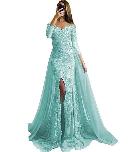 af049bc56b SDRESS Women's Appliques Off Shoulder Long Sleeve Mermaid Formal Prom Dress  Overskirt Side-Slit Evening Gown