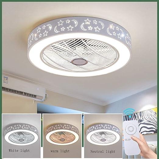 Dormitorio de Sala Moderna Habitaci/ón para Ni/ños Iluminaci/ón Ventiladores de Techo con L/ámpara Ventilador de Techo con Luces LED con Control Remoto Regulable Ultra Silenciosa para Ventilador