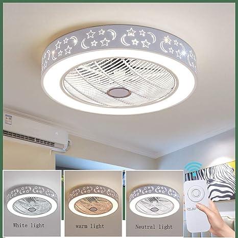 Ventiladores de Techo con Lámpara, Ventilador de Techo con Luces LED con Control Remoto Regulable Ultra Silenciosa para Ventilador, Dormitorio de Sala ...