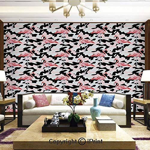 (Wallpaper Nature Poster Art Photo Decor Wall Mural for Living Room,Watercolor Pink Flamingo Print Camouflage Background Nature Inspired,Home Decor - 66x96 inches)