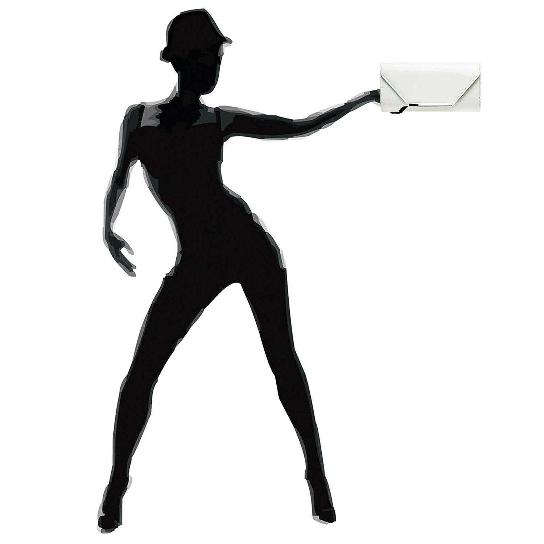 Caspar TA516 Pochette de soir/ée XL /él/égante pour femme en imitation cuir vernis avec longue cha/înette bandouli/ère