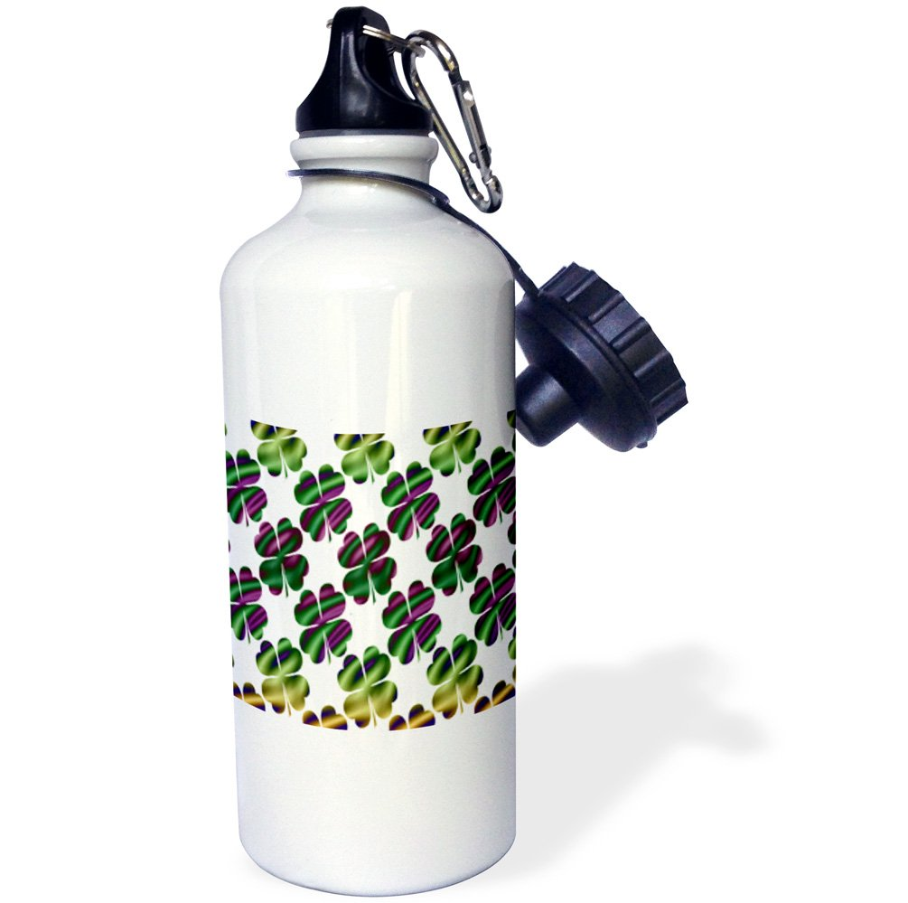 3dRose Four Leafed Clover Design in Green, Gold, and Purple on White-Sports Water Bottle, 21oz (wb_180858_1), 21 oz Multicolor