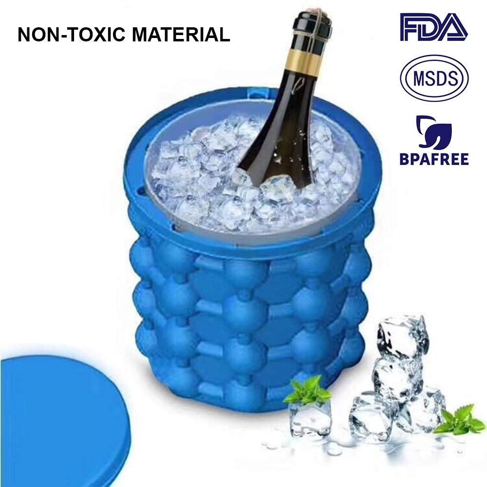 Non-toxic Ice Cube Maker Genie, Silicone Ice Cube Genie Bucket with Ice Cube Trays for Chilling Whiskey, Cocktail, Beverages, Non-Toxic, Blue USBOS