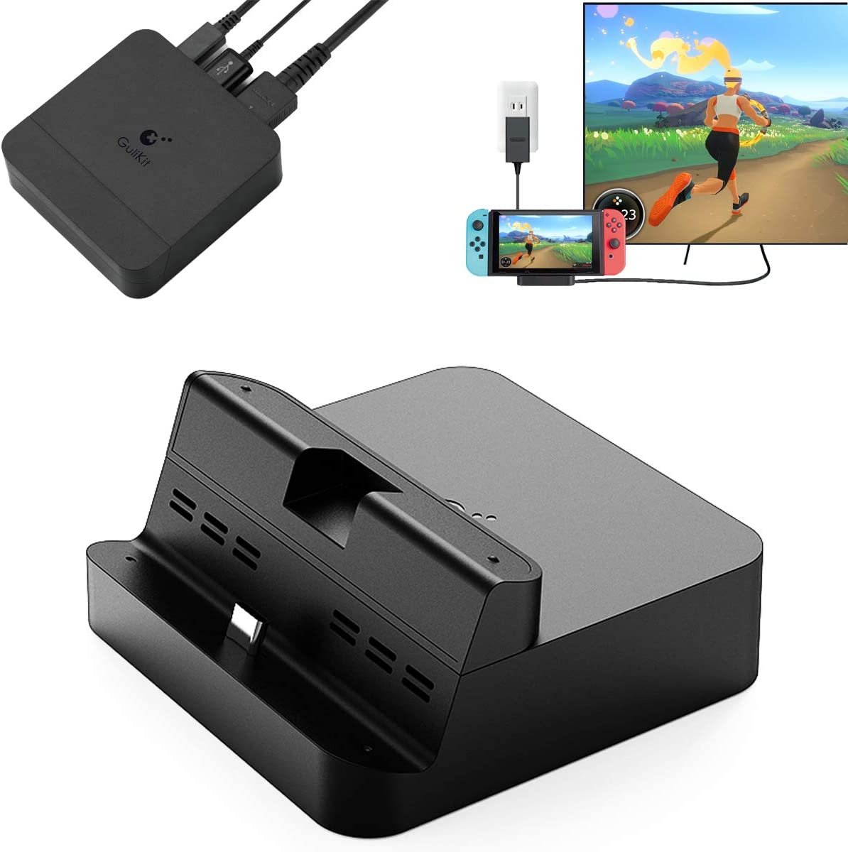 GuliKit Switch Docking Station, Portable TV Dock for Nintendo Switch with USB-C PD Charging Stand, HDMI Adapter and USB 3.0 Port, Support Samsung DeX Mode/Huawei PC Mode