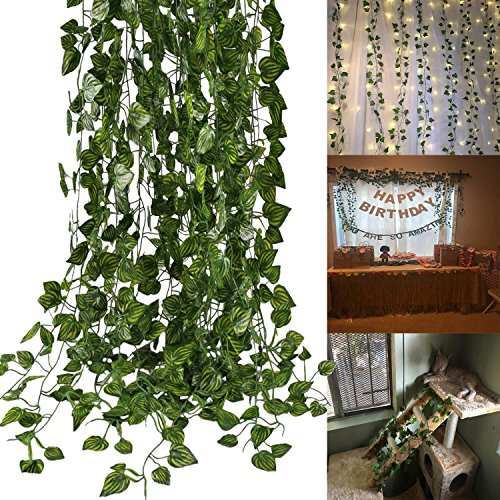 ALIDEAL Artificial Vines Hanging Plant Garland Flower Fake Greenery for Wall Home Garden Decor 12PCS