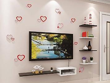 Wandrega  Massivholzfarbe Wandregal Für Wohnzimmer TV Hintergrund Wand  Dekoration Separator Set Top Box Lagerregal (