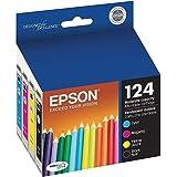 Epson NX130 Ink Inkjet Genuine Catridge 124 T124 Includes T124120 T124220 T124320 T124420 (1 Black, 1 Yellow, 1 Cyan, 1 Magen