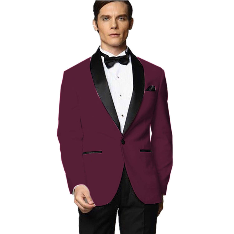 My S Men S Custom Made Groomsman Tuxedo Burgundy Suit Black Pants