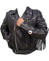 NorthernFinch Men's Biker Genuine Leather Jacket with Fringes