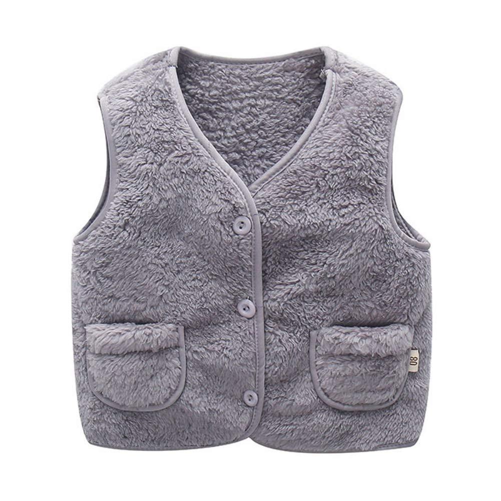 Hongyuangl Unisex Kids Baby Gilets Fluffy Vest Jackets Autumn Winter Coat Warm Fleece Outerwear Waistcoat