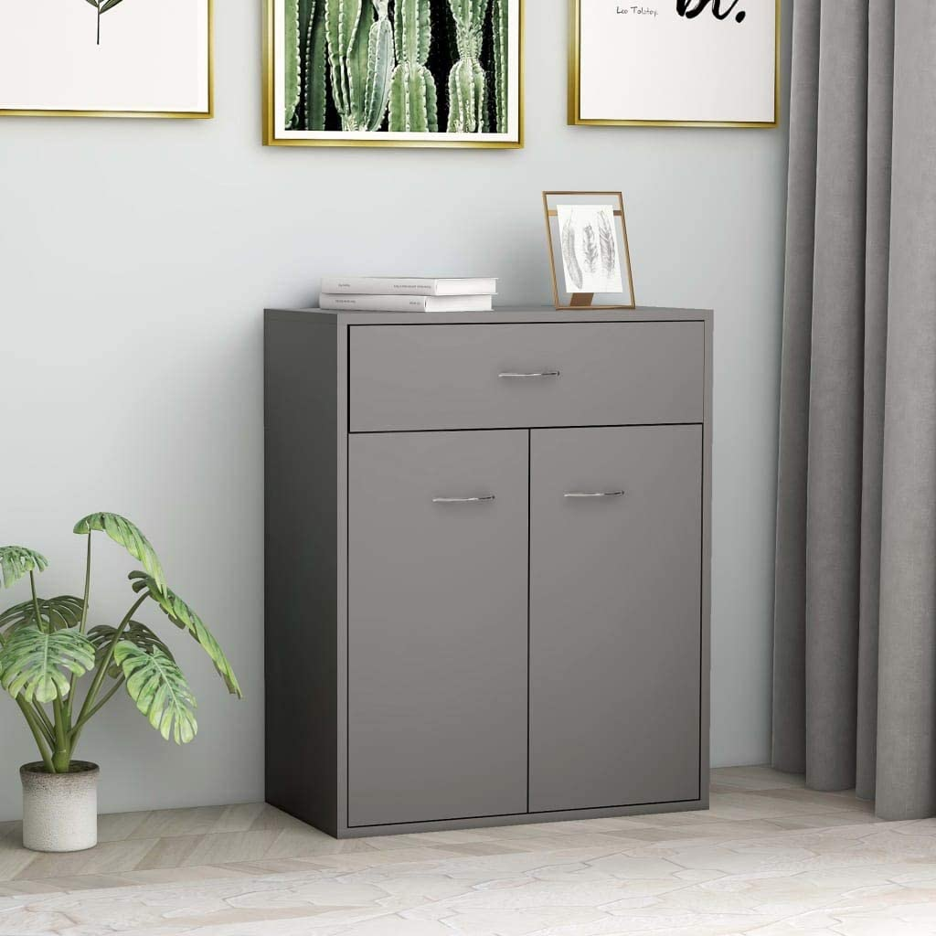 FAMIROSA Sideboard Grey 60x30x75 cm Chipboard