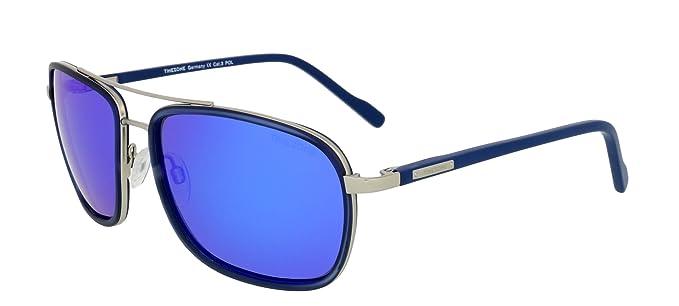Sonnenbrille TIMEZONE Marcus Herren Damen Unisex POLARISIERTE GLÄSER + Neoprene Brillenband (24 Blau Matt-Silber/Grau, Blau Gespiegelt)