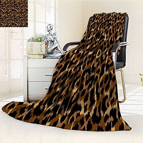 Flannel Fleece Luxury Blanket leopard pattern vector illustration seamless print wallpaper background texture Plush Microfiber Solid Blanket(90