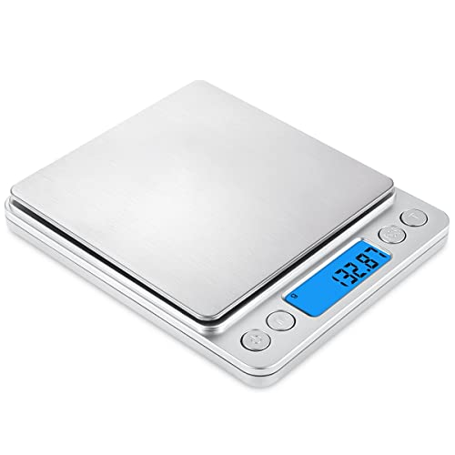 AMIR Digital Scales, (500g/ 0.01g) High-precision Pocket Food Scales, Jewelry Scales, Multifunctional Pro Scales with Back-Lit LCD Display, Tare and PCS Features, Stainless Steel for Easter, Batteries Included