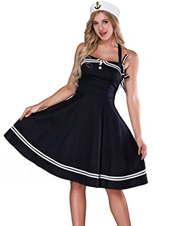 685c0220298bd Amazon.com  Sailor Costume Women - Adult 1950s Navy Halter Vintage Retro  Sailor Costume For Women Cocktail Dress with Hat  Clothing