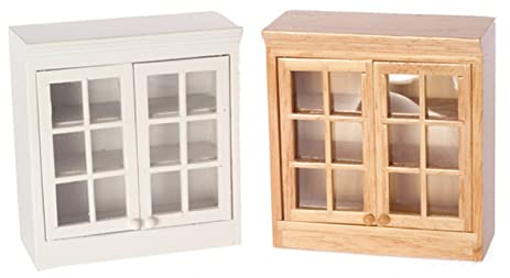 dollhouse miniature 112 scale white upper kitchen cabinet t5374 - Dollhouse Kitchen