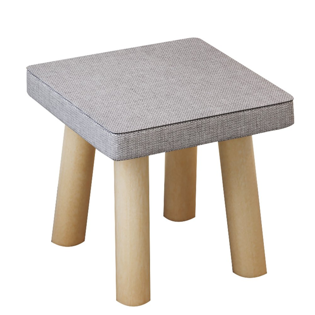 D&L Solid wood Square Upholstered Footstool, Ottoman Pouffe Short Stool Fabric Cover 4 legs And Removable Linen Cover-A L29xW29xH26cm
