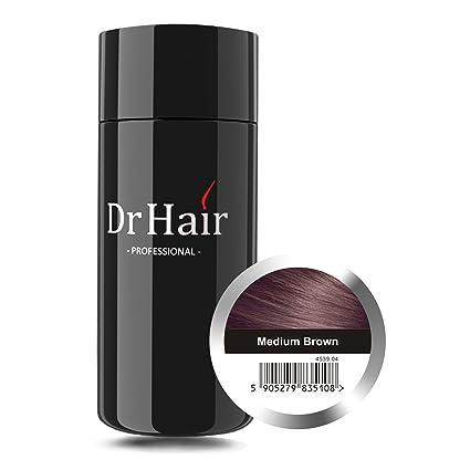 Dr Hair Fibers, Fibras de pelo, anti-caída del cabello, Queratina de pelo en pluma, Castaño Medio, 30g