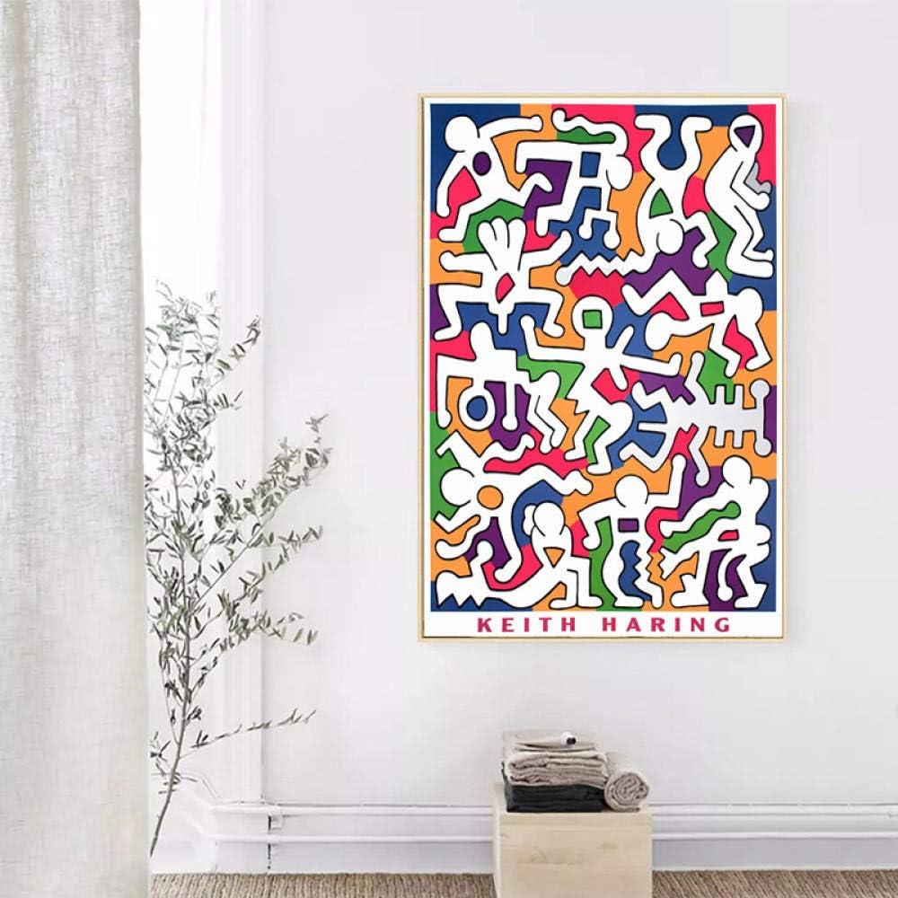 YB Keith Haring Moderne Pop Art Abstrait Toile Peinture Mur Photos D/écor /À La Maison 60cm x90cm sans Cadre