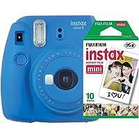 Câmera Instantânea Mini 9 + Pack 10 Fotos, Fujifilm, Instaxkit21C, Azul Cobalto