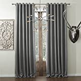 IYUEGO Solid Faux Linen Classic Room Darkening Grommet Top Curtain Draperies With Multi Size Custom 50″ W x 102″ L (One Panel)