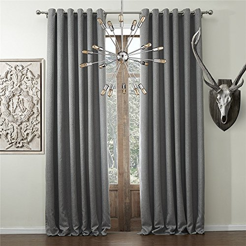 IYUEGO Solid Faux Linen Classic Room Darkening Grommet Top Curtain Draperies With Multi Size Custom 50