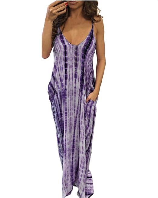 Auxo Mujer Vestidos Largos Boho Faldas Escote Tropical sin Espalda Hombros Playa Fiesta Lila ES 48