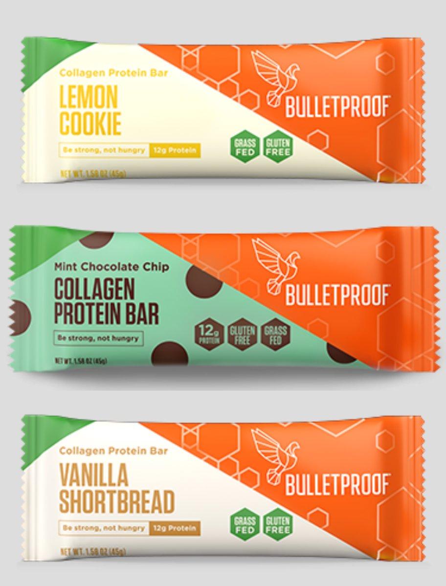 Bulletproof Collagen Protein Bars 12 Bars (3 Flavor Variety Pack)