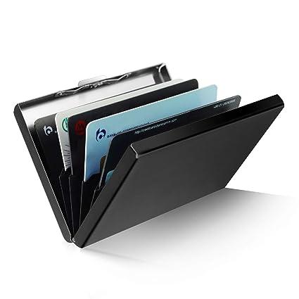 Delgado Cajas para Tarjetas de Visita, RFID Bloqueo de Tarjeta, ZOYJITU Tarjetero para Tarjetas de crédito y 6 Ranuras Soporte Tarjetas Visita, ...