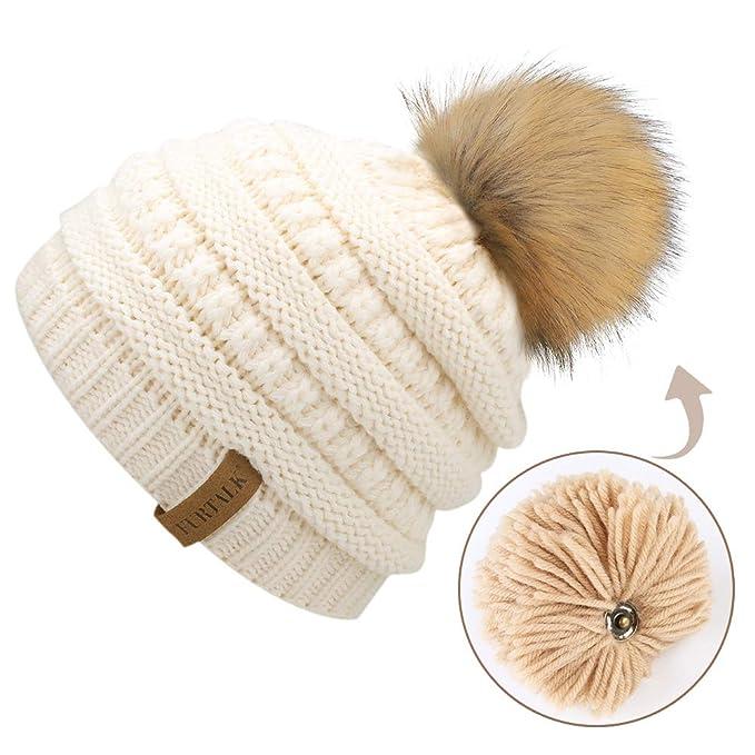 677661aa93914 FURTALK Kids Slouchy Winter Knit Beanie Hats Faux Fur Pom Pom Hats Boys  Girls  Amazon.ca  Clothing   Accessories