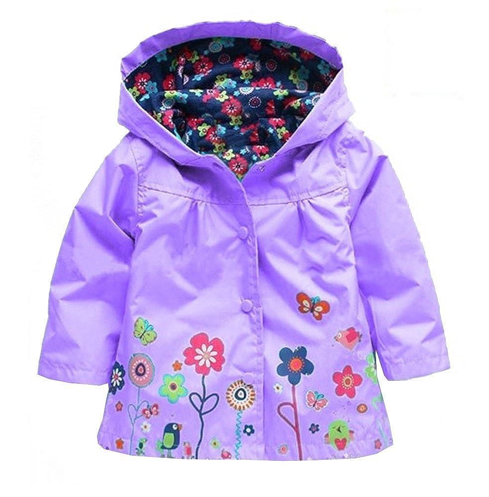 Vividda Girl Baby Kid Waterproof Hooded Coat Jacket Floral Outwear Raincoat Hoodies