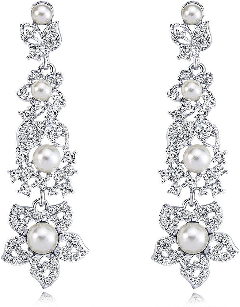 MKmd-s Pendientes de Perlas exquisitas, Pendientes Largos de Novia con Flor de Diamantes con Destellos atmosféricos Blancos
